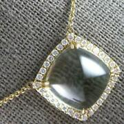 8.33ct Diamond And Aaa Green Amethyst 14kt Yellow Gold Square Halo Pyramid Pendant