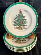 Set Of 8 Spode Christmas Tree Bread And Butter Plates Made In England Clean