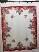 Vintage Htf Wilendur Christmas Tablecloth Poinsettia Holiday Red Floral Large