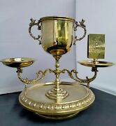 Antique Brass Smoking Cigarette/ Cigar Cup With Match Holder And Ash Set 9.5 Tall