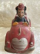 Vintage 1930and039s Sun Rubber Mickey Mouse With Donald Duck Red Fire Truck Toy Rare