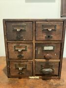 Antique 6 Drawer Oak Wooden Library Card Catalog Cabinet Steampunk Style