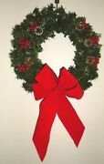 Vintage Christmas Holiday Red Ribbon Bowed Berries Gold Glitter Wreath