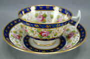 New Hall 1865 Hand Painted Pink Rose Cobalt And Gold Tea Cup And Saucer C.1815-1825
