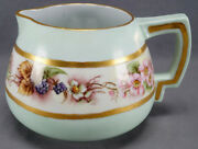 Count Thun Hand Painted Signed Blackberries Green And Gold Cider Lemonade Pitcher