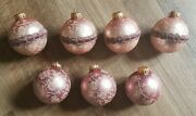 Vintage Lot Of 7 Christmas Ornaments Made In West Germany Pink White Gold Top