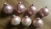 Vintage Lot Of 7 Christmas Ornaments Made In West Germany Pink White Silver Top