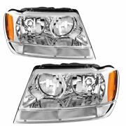 For 1999-2004 Jeep Grand Cherokee Headlights Headlamps Replacement Lh-rh