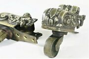 Pair Large Antique English 19th C. Brass Lion Claw Swivel Casters Chair Feet