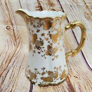 Noritake Nippon Hand Painted Gold And White 6 China Pitcher Carafe 1911 Antique