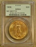 1908 No Motto Pcgs Ms64 20 Saint Gaudens Gold Double Eagle - Old Green Holder