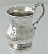 Rare 1840 Samuel Kirk Coin Silver Handwrought Xmas Childs Cup Engraved Chased