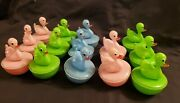 Rare Vintage Carnival Ducks Colored Hard Plastic Lot Of 14 Made In Hong Kong