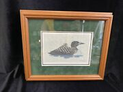Loon And Chick Lithograph Signed Marnie Dahl 1988 Framed And Double Matt /r