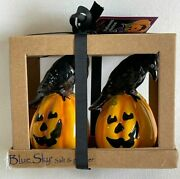 Blue Sky Clay Works Halloween Pumpkin With Raven Salt And Pepper Shakers Nwt