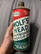 Vintage Wolf's Head Outboard Motor Oil Spout Graphic Quart Can