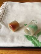 A Pair Of Chinese Qing Dynasty Jade Jadeite Archer Ring