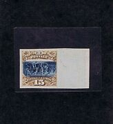 Sc 129p4a Unused Plate Proof On Card Inverted Center 15c Previously Hinged