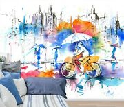 3d Watercolor Bicycle Zhua1621 Wallpaper Wall Murals Removable Self-adhesive Amy
