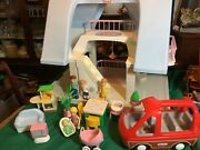 Vintage Little Tikes Large Light Blue Roof Doll House W/furniture People And Car