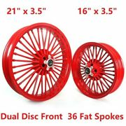 21x3.5 16x3.5 Fat Spokes Aluminum Front Rear Wheel Set For Harley Softail Dyna