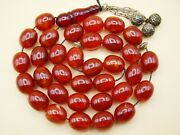 Old Real Antique Rare German Bakelite Amber Necklace Rosary Prayer Beads 56 Gr.