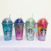 Set 4pcs.starbucks Tumbler Acrylic 16oz.lid Dome Glitter Cold Cup Thailand Only