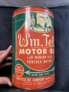 Vintage Full Original Wm.tell Rare 5 Quart Motor Oil Graphic Can Canfield Oil Co