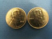 2012 P And D Lincoln Penny Set Bu