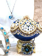 One Of A Kind Poppy Faberge Egg Silver Necklace And Bracelet Set Gift For Her 24k