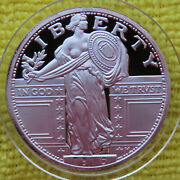 One Ounce .999 Silver Round As In 1916 Bare Breast Standing Liberty Quarter 1 Oz