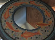 Koi Mosaic Mirror 22 Diameter - Very Colorful - Great Condition