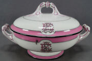Late 19th Century F Dommartin Paris Eae Monogram Pink And Black Covered Vegetable