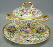Limoges Hand Painted Pink Rose Floral And Gold Covered Bouillon Cup And Saucer 1890s