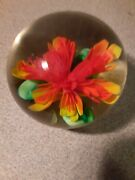 Paperweight Vintage Glass With Stunning Red Orange Flowers Beautiful