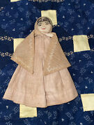 Antique American Folk Art Stockinette Clothes Pin Doll Shaker Outfit