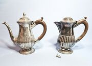 2 Antique Tea Coffee Pots Silver Plated Small English Victorian 19th Century