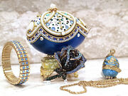 Russian Easter Egg Fabergé Trinket And Faberge Necklace And Bracelet 24k Real Egg Hm