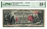 1875 5 The First National Bank New London Ohio - Serial 4056 - Charter 1981 Pmg