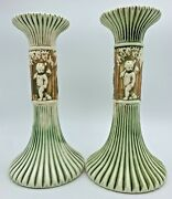 Vintage Roseville Pottery Donatello Large Candlesticks 8 Inches Pair