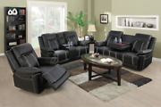 Newblack Sofa Loveseat Chair Leather Living Room 5-seater Reclinerand Cupholders