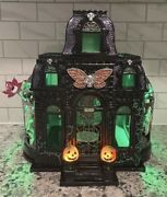 Bath And Body Works Halloween Light Up Haunted House Luminary 3 Wick Candle Holder
