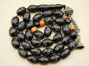 Old Real Antique Rare Black Coral Yusr Subha Necklace Rosary Prayer Beads 49 Gr