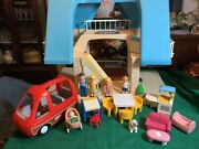 Vintage Little Tikes Large Blue Roof Doll House W/accessories