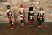 Set Of 4 Wooden Vintage Nutcrackers Christmas Decoration Collection