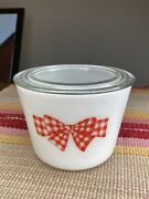 """Mckee Red Gingham Checked Bow Pattern Large 6.25"""" Round Canister"""