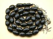 Old Real Antique Rare Black Coral Yusr Subha Necklace Rosary Prayer Beads 56 Gr