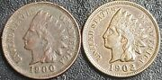 Indian Small Cent Lot Better Coins - 1900 1902     Lot 373