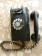 Vintage Bell System Western Electric Wall Mounted Black Rotary Phone