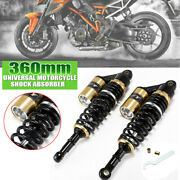 1 Pair 360mm Motorcycle Rear Shock Absorber Round Hole Adjustable Universal
